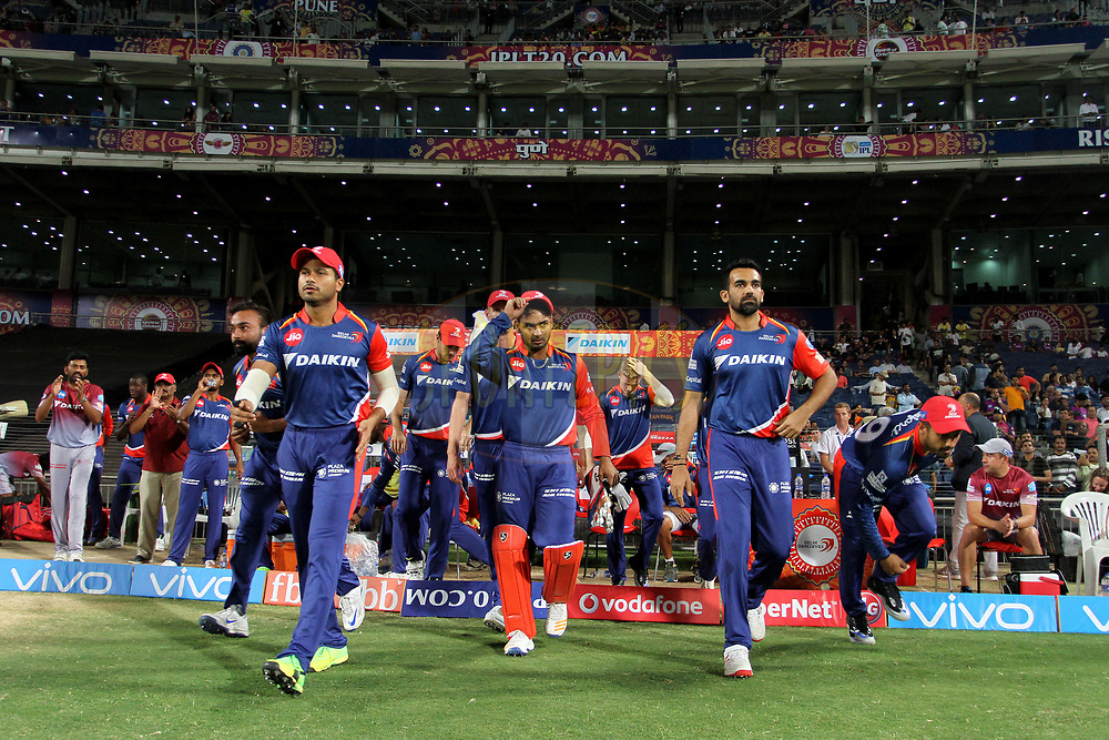 Delhi Daredevils players arrive on the ground during match 9 of the Vivo 2017 Indian Premier League between the Rising Pune Supergiants and the Delhi Daredevils held at the MCA Pune International Cricket Stadium in Pune, India on the 11th April 2017<br /> <br /> Photo by Vipin Pawar- IPL - Sportzpics