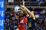 Temalisi Fakahokotau of the Tactix stops a ball to Lenize Potgieter of the Magic during the ANZ Premiership Netball match, Tactix V Magic, Horncastle Arena, Christchurch, New Zealand, 6th June 2018.Copyright photo: John Davidson / www.photosport.nz