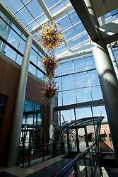 North America, United States, Washington, Bellevue, glass sculpture in atrium of LIncoln Square shopping area