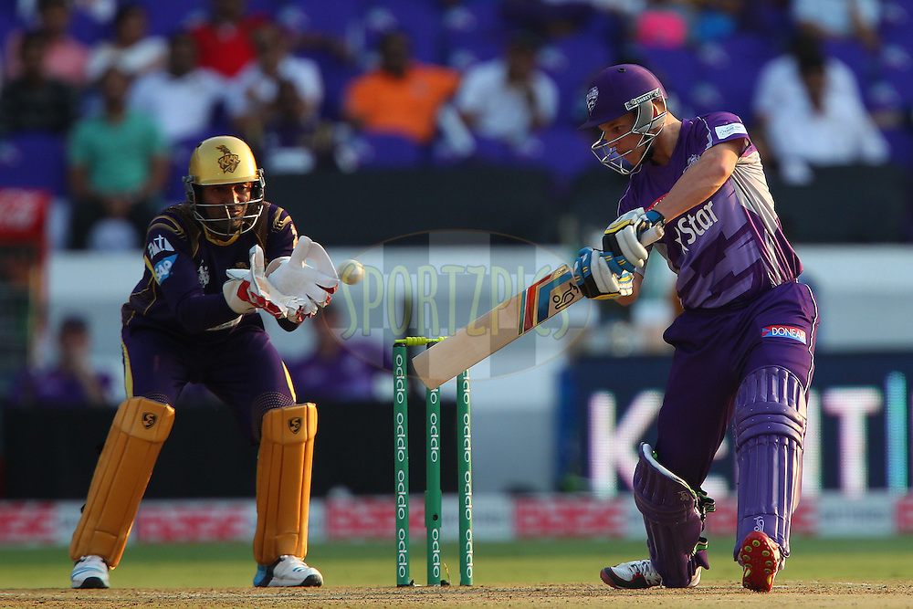 Evan GULBIS of the Hobart Hurricanes cuts a four during the first semi final match of the Oppo Champions League Twenty20 between the Kolkata Knight Riders and the Hobart Hurricanes held at the Rajiv Gandhi Cricket Stadium, Hyderabad, India on the 2nd October 2014<br /> <br /> Photo by:  Ron Gaunt / Sportzpics/ CLT20<br /> <br /> <br /> Image use is subject to the terms and conditions as laid out by the BCCI/ CLT20.  The terms and conditions can be downloaded here:<br /> <br /> http://sportzpics.photoshelter.com/gallery/CLT20-Image-Terms-and-Conditions-2014/G0000IfNJn535VPU/C0000QhhKadWcjYs