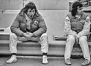 Having qualified second for the 1982 Detroit Grand Prix, Italy&rsquo;s Andrea deCesaris tries to shed some nervous energy while engineer Ermanno Cuoghi prepares his Marlboro Alfa-Romeo before the start. <br />