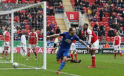 Jack Marriott of Peterborough United celebrates scoring his sides equalising goal - Mandatory by-line: Joe Dent/JMP - 30/03/2018 - FOOTBALL - Aesseal New York Stadium - Rotherham, England - Rotherham United v Peterborough United - Sky Bet League One