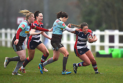 Jessica Wooden of Harlequins pulls the hair of Sydney Gregson of Bristol Ladies - Mandatory by-line: Paul Knight/JMP - 03/02/2018 - RUGBY - Cleve RFC - Bristol, England - Bristol Ladies v Harlequins Ladies - Tyrrells Premier 15s