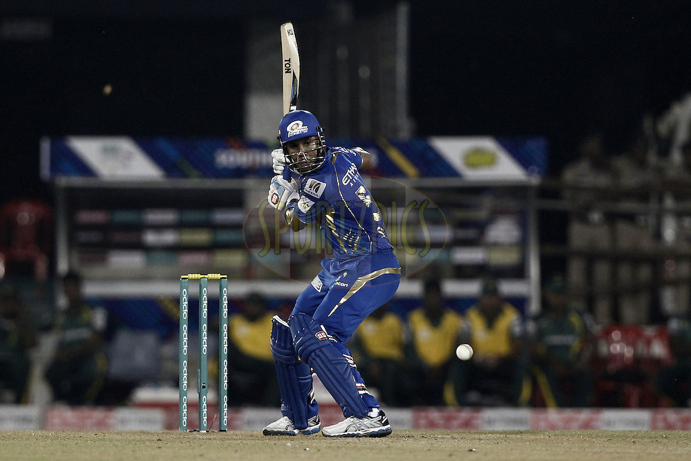 Lendl Simmons of the Mumbai Indians during the qualifier 4 match of the Oppo Champions League Twenty20 between the Mumbai Indians and the Southern Express held at the Chhattisgarh International Cricket Stadium, Raipur, India on the 14th September 2014<br /> <br /> Photo by:  Deepak Malik / Sportzpics/ CLT20<br /> <br /> <br /> Image use is subject to the terms and conditions as laid out by the BCCI/ CLT20.  The terms and conditions can be downloaded here:<br /> <br /> http://sportzpics.photoshelter.com/gallery/CLT20-Image-Terms-and-Conditions-2014/G0000IfNJn535VPU/C0000QhhKadWcjYs