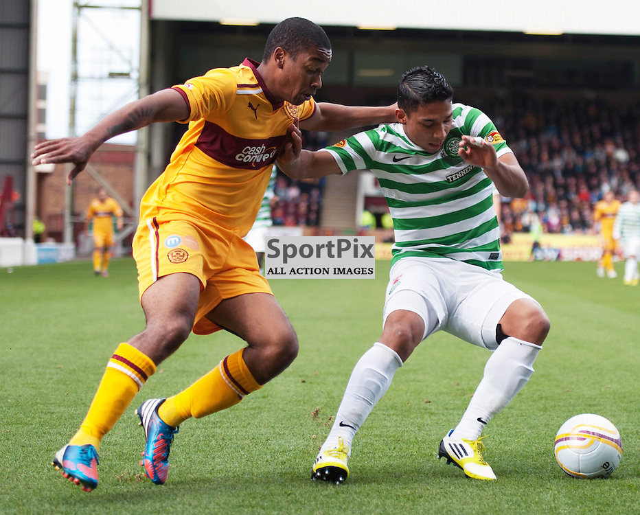 Chris Humphrey tries to get past Emilio Izaguirre. The Clydesdale Bank Scottish Premier League, Season 2012/13, Motherwell v Celtic, Fir Park, 29 September 2012 Angela Isac | StockPix.eu