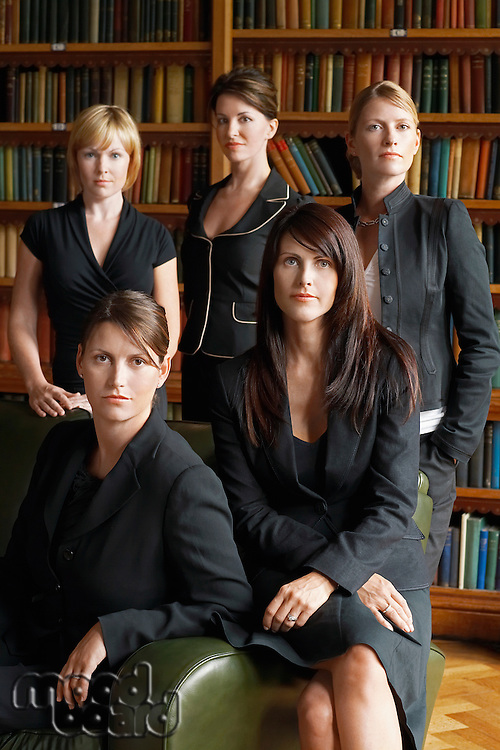 Five lawyers in library