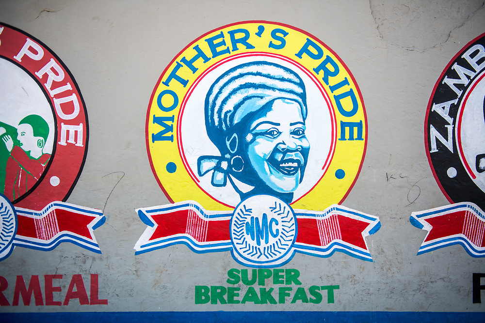 Mother's Pride signage on a wall in Livingstone, Zambia