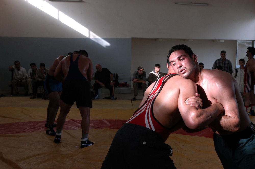 Ahmed Nafeh of the Iraqi national wrestling team trains a the al-Kadhamiya Sports Club. He is one of four members of the team that will be competing at the Athens Olympics for the first time in decades..Baghdad, Iraq. 21/04/2004     .Photo © J.B. Russell