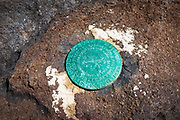 US Geological marker at Cavern Point, Santa Cruz Island, Channel Islands National Park, California USA