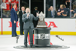 June 7, 2018: NHL Commissioner, Gary Bettman, talks to crowd prior to awarding Conn Smythe Trophy after the Washington Capitals and Vegas Golden Knights NHL Stanley Cup Final playoff game 5 at T-Mobile Arena in Las Vegas, NV. John Crouch/CSM