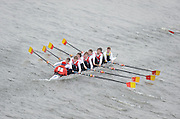 Chiswick. London.  Bann RC , N.Ireland, approach the start line as they compete in the 2011 Schools Head of the River Race, Mortlake to Putney, over the  Championship Course.Taken from Chiswick Bridge.  Thursday  17/03/2011 [Mandatory Credit, Peter Spurrier/Intersport-images]