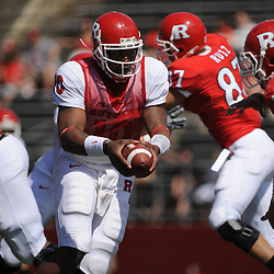 Apr 18, 2009; Piscataway, NJ, USA; Rutgers QB D.C. Jefferson (10) hands the ball off to RB Joe Martinek not pictured) during the first half of Rutgers' Scarlet and White spring football scrimmage.