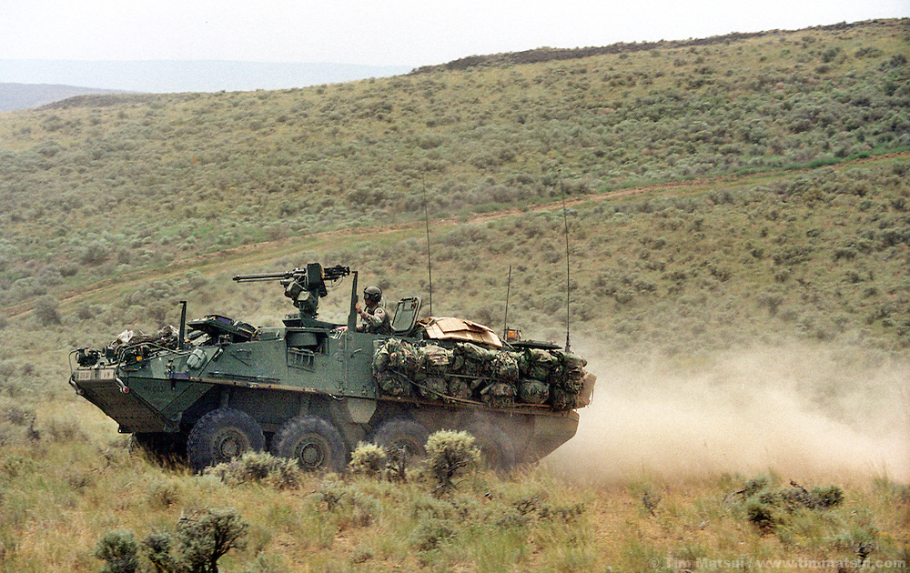 Alpha Company, 5th Battalion, 20th Infantry practices maneuers with one of their Stryker medium weight armored vehicle at the Yakima Training Center in Washington on Thursday June 27, 2002. Alpha Company is the first to receive the $2.5 million Stryker which is the Army's first new armored vehicle in 14 years. It is meant to fill the gap between light infantry that uses only Humvees for transport and heavy armor like the M1 Abrahams tank. ..Able to withstand heavy machine gun rounds but not anti-tank rounds or rocket propelled grenades the Stryker's key assets are rapid transport of its nine man squad overland or by the main in-theater cargo plane, the C-130. The Stryker is also using the FBCB2 computer system allowing each vehicle to know friendly and enemy positions, real-time battlefield intelligence, email, gps mapping, and feeds from remote surveilance aircraft. It is also equiped with a .50 caliber machine gun or grenade launcher with video and thermal imaging operated remotely from within the vehicle...According to Army personel, if the battalion had been ready it would have been one of the first units into Afghanistan. As it is, it will represent the Army's new medium weight brigades in the Millenium Challenge excercises at Ft. Irwin, California, in late July. The live and computer simulated excercise will test the U.S. Military's concept for working together.
