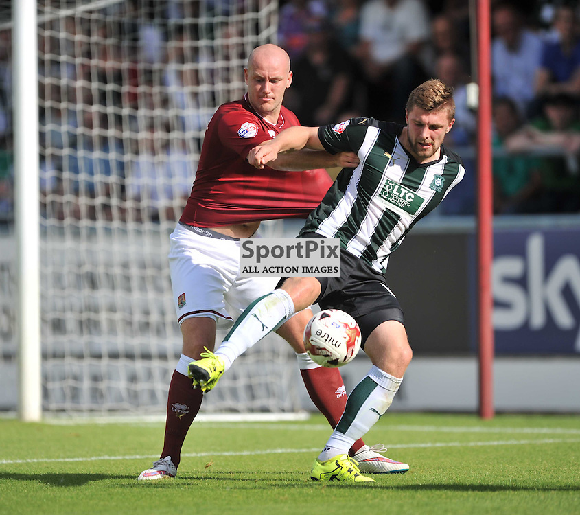 Nortmptons Ryan Cresswell holds of Plymouths Ryan Brunt, Northampton Town v Plymouth Argyle, Sky Bet League 2, Saturday 22/8/2015