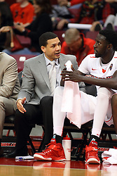 "27 November 2015: Jeremy Ballard chats with Daouda ""David"" Ndiaye (4). Illinois State Redbirds host the Quincy Hawks at Redbird Arena in Normal Illinois (Photo by Alan Look)"