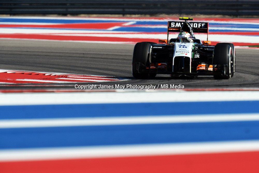 Sergio Perez (MEX) Sahara Force India F1 VJM07.<br /> United States Grand Prix, Friday 31st October 2014. Circuit of the Americas, Austin, Texas, USA.