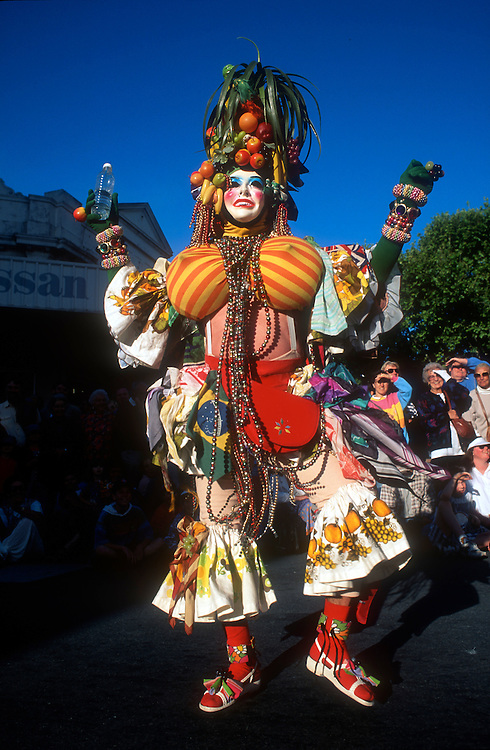 Street performer joins the street parade that marks the beginning of the celebration that is the Fremantle Festival. Western Australia