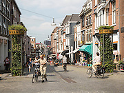 Historic Hezelstraat street on a hill, central Nijmegen, Gelderland, Netherlands
