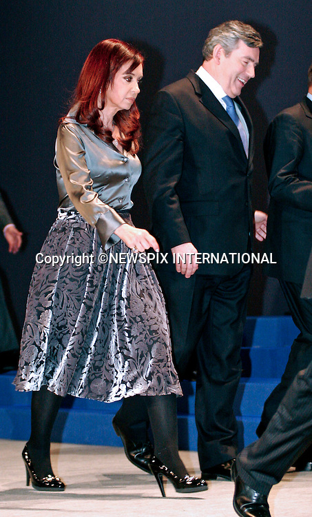 """PRESIDENT CRISTINA KIRCHNER AND GORDON BROWN.G20 SUMMIT, Excel Centre, London_02/04/2009.Photo: Newspix International..**ALL FEES PAYABLE TO: """"NEWSPIX INTERNATIONAL""""**..PHOTO CREDIT MANDATORY!!: NEWSPIX INTERNATIONAL(Failure to credit will incur a surcharge of 100% of reproduction fees)..IMMEDIATE CONFIRMATION OF USAGE REQUIRED:.Newspix International, 31 Chinnery Hill, Bishop's Stortford, ENGLAND CM23 3PS.Tel:+441279 324672  ; Fax: +441279656877.Mobile:  0777568 1153.e-mail: info@newspixinternational.co.uk"""