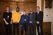 NATASHA DEVON; MO GILLIGAN; ANN COFFEY MP; LEON MCKENZIE; MARTIN DAUBNEY, Ann Coffey MP hosts a reception and panel debate  on behalf of Harry's Grooming to launch the Masculinity Report. Houses of Parliament. 16 November 2017.