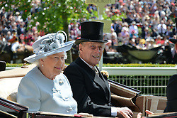 HM THE QUEEN and HRH THE DUKE OF EDINBURGH at the first day of the 2014 Royal Ascot Racing Festival, Ascot Racecourse, Ascot, Berkshire on 17th June 2014.