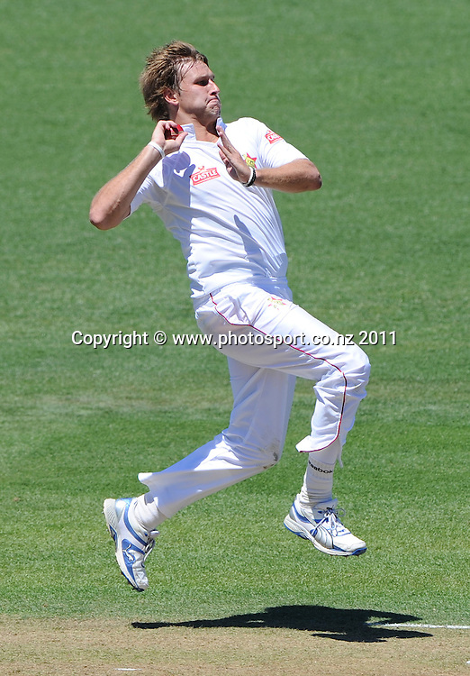 Kyle Jarvis bowling on day 1 of the first cricket test, New Zealand v Zimbabwe at McLean Park. Thursday 26 January 2012. Napier, New Zealand. Photo: Andrew Cornaga/Photosport.co.nz