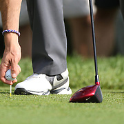 Rory McIlroy places his ball on the tee during the ProAm at The Barclays Golf Tournament at The Ridgewood Country Club, Paramus, New Jersey, USA. USA. 20th August 2014. Photo Tim Clayton