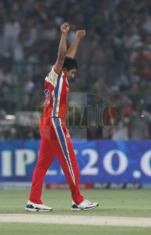 Royal Challengers Bangalore player KP Appanna celebrates the wicket of Rajasthan Royals player Shreevats Goswami during match 30 of the the Indian Premier League ( IPL) 2012  between The Rajasthan Royals and the Royal Challengers Bangalore held at the Sawai Mansingh Stadium in Jaipur on the 23rd April 2012..Photo by Pankaj Nangia/IPL/SPORTZPICS