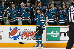 March 23, 2011; San Jose, CA, USA;  San Jose Sharks center Torrey Mitchell (17) celebrates with teammates after scoring a goal against the Calgary Flames during the first period at HP Pavilion. Mandatory Credit: Jason O. Watson / US PRESSWIRE