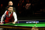 19.02.2016. Cardiff Arena, Cardiff, Wales. Bet Victor Welsh Open Snooker. Neil Robertson versus Ding Junhui. Ding watches as the black disappears for a maximum break.