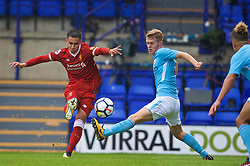 BIRKENHEAD, ENGLAND - Sunday, September 10, 2017: Liverpool's substitute Yan Dhanda scores the winning goal in the 89th minute to seal a 1-0 victory during the Under-23 FA Premier League 2 Division 1 match between Liverpool and Manchester City at Prenton Park. (Pic by David Rawcliffe/Propaganda)