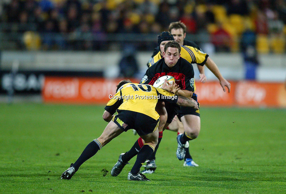 07 May 2004, Rugby Union. Super 12, Westpac Stadium, Wellington, New Zealand. <br /> Hurricanes vs Crusaders.<br /> Cameron McIntyre.<br /> The Hurricane's won the match 37 - 20.<br /> Please Credit: Photosport