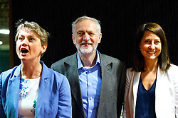 © Licensed to London News Pictures. 25/08/2015. Stevenage, UK. Labour Party leader candidates Yvette Cooper, Jeremy Corbyn and Liz Kendall attending a husting for Radio 5 at Stevenage Arts & Leisure Centre in Stevenage on Tuesday, 25 August 2015. Photo credit: Tolga Akmen/LNP