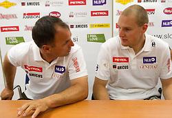 Burkhard Schaffer, Andrej Sporn  during press conference of Slovenian Men Alpine Ski Team, on August 22, 2011, in SZS, Ljubljana, Slovenia. (Photo by Vid Ponikvar / Sportida)