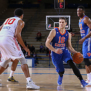 BYU alumni JIMMER FREDETTE (16) drives towards the basket in the first half of a NBA D-league regular season basketball game between the Delaware 87ers and the Westchester Knicks  Saturday Dec, 26, 2015 at The Bob Carpenter Sports Convocation Center in Newark, DEL