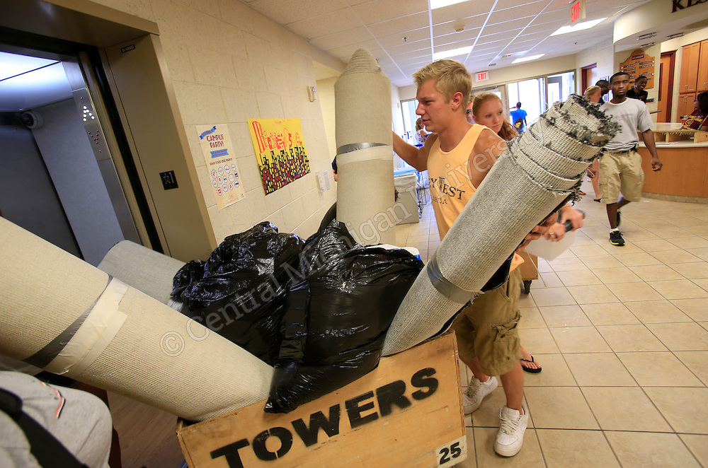 Today, approximately 3,000 Chippewas moved into the residence halls. With 22 residence halls at CMU, it has been a very busy day on campus in preparation for the start of the fall semester on Monday, August 26. Photo by Steve Jessmore/Central Michigan University