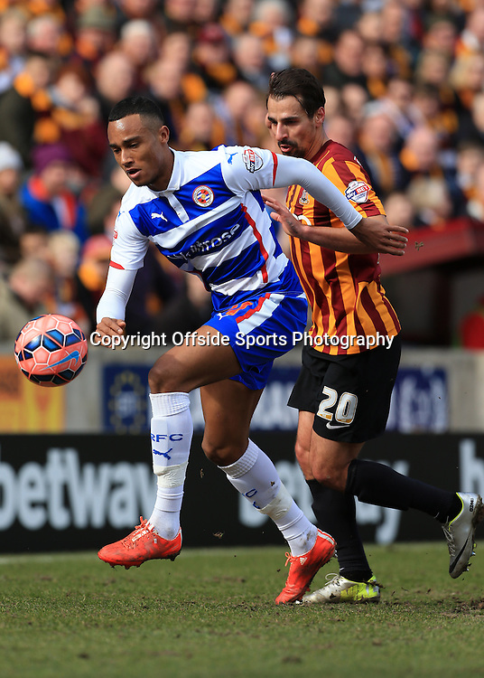 7th March 2015 - FA Cup - Quarter-Final - Bradford City v Reading - Jordan Obita of Reading battles with Filipe Morais of Bradford - Photo: Simon Stacpoole / Offside.