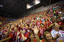 Fans of Telekom Veszprem during handball match between RK Celje Pivovarna Lasko and Telekom Veszprem in 1st round of VELUX EHF Champions League, on September 16, 2017 in Arena Zlatorog, Celje, Slovenia. Photo by Ziga Zupan / Sportida