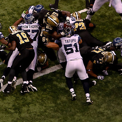November 21, 2010; New Orleans, LA, USA;  New Orleans Saints running back Chris Ivory (29) dives over the goal line for a touchdown during the first quarter against the Seattle Seahawks at the Louisiana Superdome. The Saints defeated the Seahawks 34-19. Mandatory Credit: Derick E. Hingle