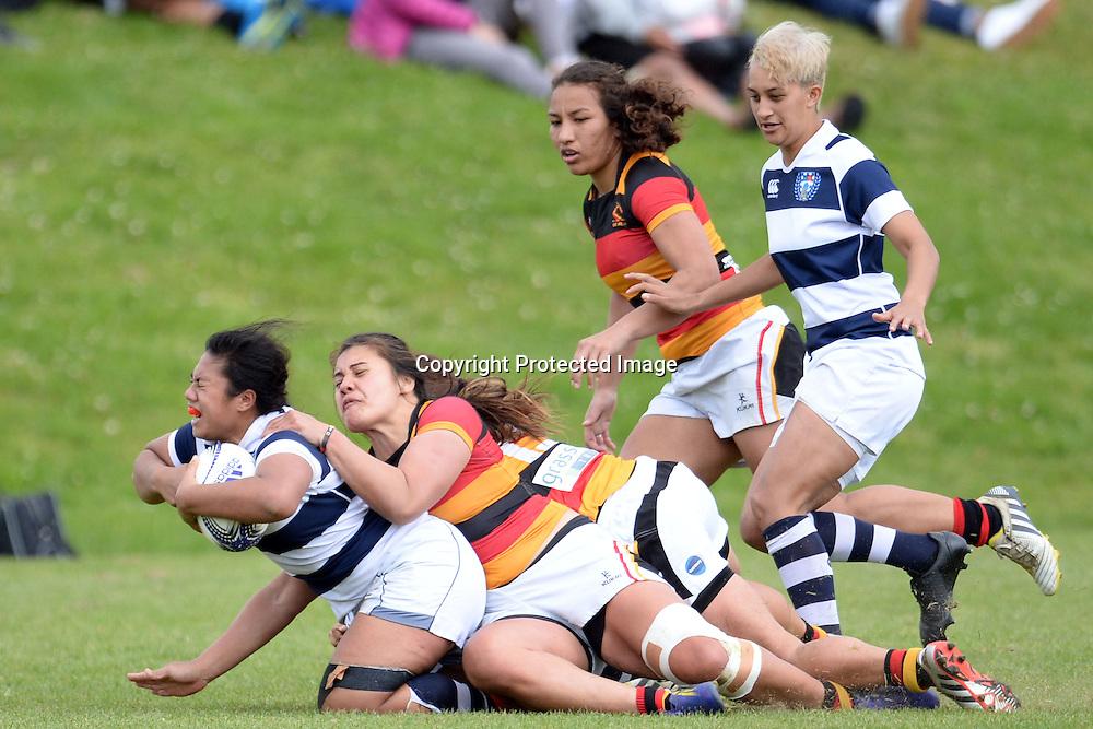 Auckland Storm's Onjeurlina Leiataua in action during the Women's Rugby NPC Semi Final, Auckland Storm v Waikato. Auckland, New Zealand on Saturday 10 October 2015. Copyright Photo: Raghavan Venugopal / www.photosport.nz