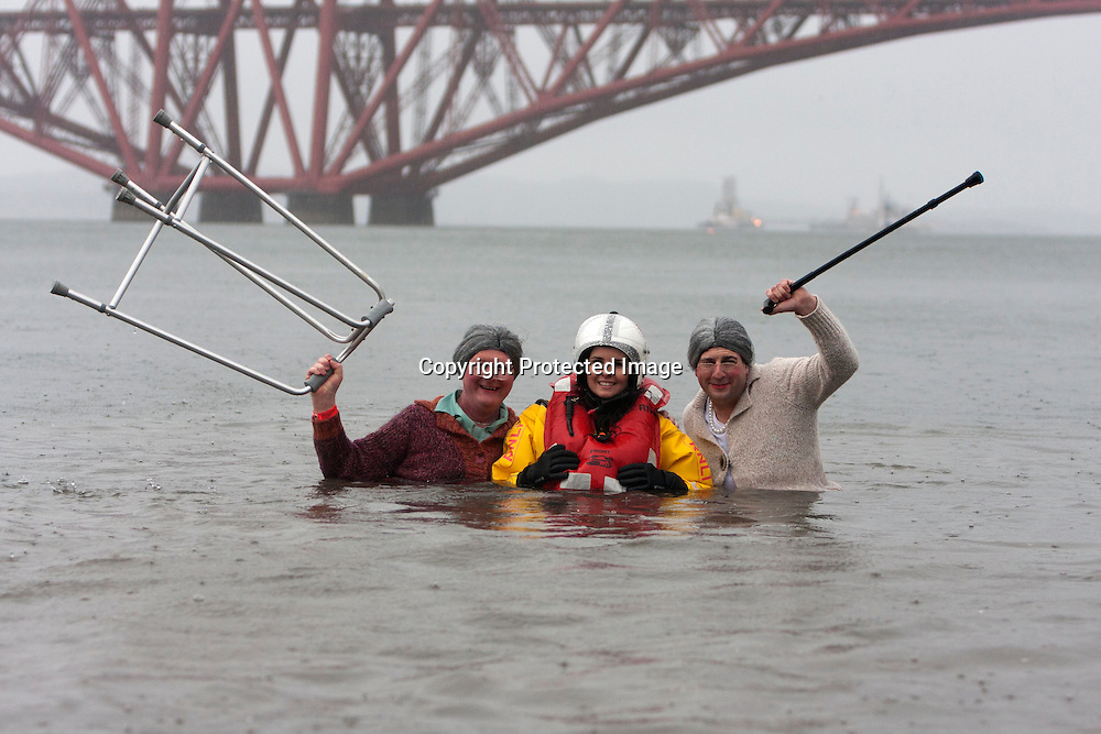 South Queensferry. Scotland. UK. 1st January Loony Dook 2015 part of Edinburgh's Hogmanay 2015 at South Queensferry.