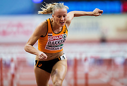 Sharona Bakker of Netherlands competes in the Women's 60 metres Hurdles heats on day one of the 2017 European Athletics Indoor Championships at the Kombank Arena on March 3, 2017 in Belgrade, Serbia. Photo by Vid Ponikvar / Sportida