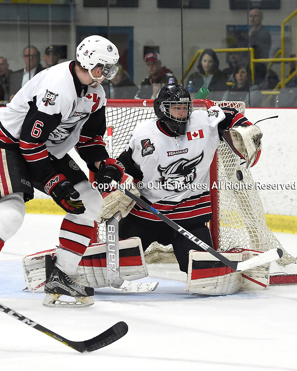 GEORGETOWN, ON - APR 18,  2017: Ontario Junior Hockey League, Championship Series. Georgetown Raiders vs the Trenton Golden Hawks in Game 3 of the Buckland Cup Final.  Josh Astorino #1 of the Georgetown Raiders protects the crease during the third period.<br /> (Photo by Andy Corneau / OJHL Images)