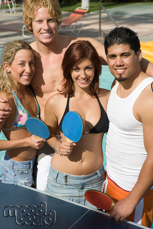 Group Portrait of Young People Including Teenage Girl (18-19) Playing Ping-Pong