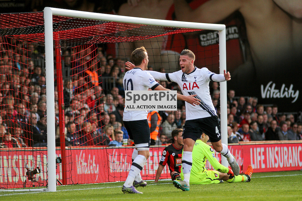 Toby Alderweireld is the first to congratulate harry kane During Bournemouth vs Tottenham Hotspur on Sunday 25th of October 2015.
