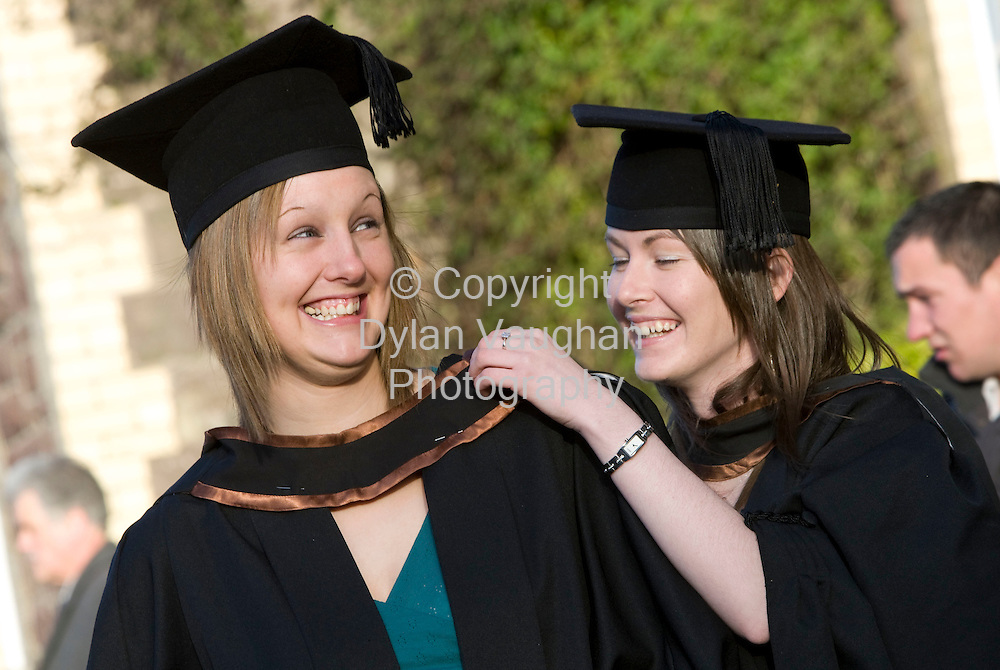 24/10/2008.free picture no charge for use.Pictured at the Conferring of Academic Awards 2008 at Waterford Institute of Technology was from left  Elaine Costigan from Kilkenny and Ruth Power from Wexford who were conferred with a Bachelor of Business (Honours)..Picture Dylan  Vaughan.