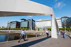 Tradeston Bridge , modern footbridge, crossing the River Clyde at Broomielaw in Glasgow United Kingdom