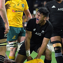Rieko Ioane celebrates his try during the Rugby Championship and Bledisloe Cup rugby match between the New Zealand All Blacks and Australia Wallabies at Forsyth Barr Stadium in Dunedin, New Zealand on Saturday, 26 August 2017. Photo: Dave Lintott / lintottphoto.co.nz