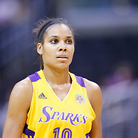 25 May 2014: Los Angeles Sparks guard Lindsey Harding (10) rests during the Los Angeles Sparks 83-62 victory over the San Antonio Stars, at the Staples Center, Los Angeles, California, USA.