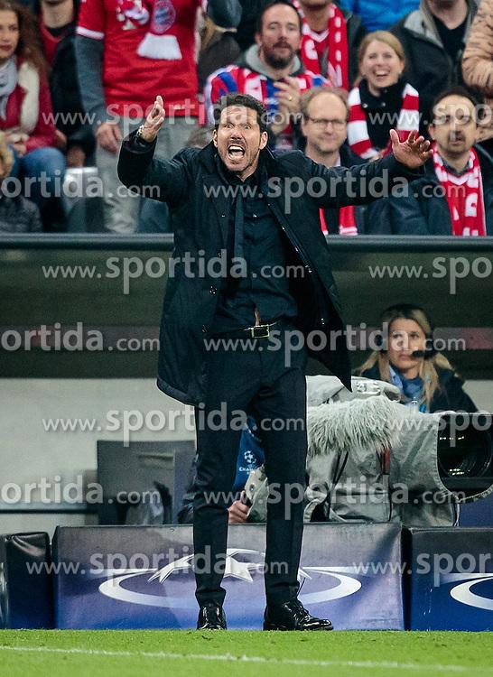 03.05.2016, Allianz Arena, Muenchen, GER, UEFA CL, FC Bayern Muenchen vs Atletico Madrid, Halbfinale, Rueckspiel, im Bild Trainer Diego Simeone (Atletico Madrid) // Trainer Diego Simeone (Atletico Madrid) during the UEFA Champions League semi Final, 2nd Leg match between FC Bayern Munich and Atletico Madrid at the Allianz Arena in Muenchen, Germany on 2016/05/03. EXPA Pictures © 2016, PhotoCredit: EXPA/ JFK